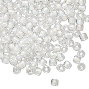 seed bead, glass, translucent rainbow clear color-lined white, #6 round. sold per 20-gram vial.