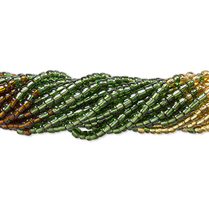 seed bead, glass, transparent silver-lined brown / green / gold, #6 round. sold per pkg of (10) 16-inch strands, approximately 1,300 beads.