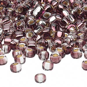 seed bead, glass, two-toned silver-lined plum/silver, 3-4mm irregular round. sold per pkg of 25 grams.