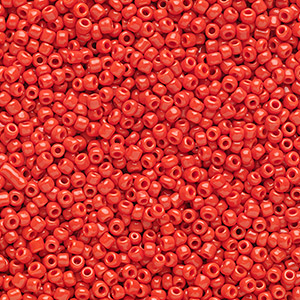 seed bead, ming tree™, glass, opaque red, #11 round. sold per 1-pound pkg.