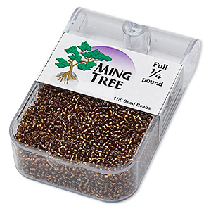 seed bead, ming tree™, glass, silver-lined translucent brown, #11 round. sold per 1/4 pound pkg.