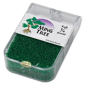 seed bead, ming tree™, glass, transparent emerald green, #11 round. sold per 1/4 pound pkg.