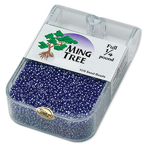 seed bead, ming tree™, glass, transparent luster cobalt, #11 round. sold per 1/4 pound pkg.