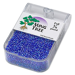 seed bead, ming tree™, glass, transparent rainbow cobalt, #11 round. sold per 1/4 pound pkg.