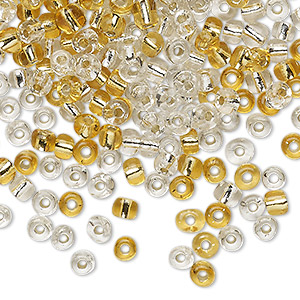 seed bead mix, glass, silver-lined translucent clear and gold, #6 round. sold per 20-gram vial.