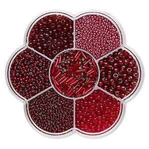 seed bead mix, preciosa, czech glass, red shades, #11 to #3. sold per 132-gram box.