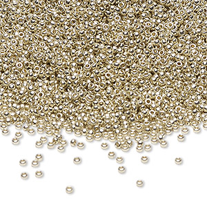 seed bead, miyuki, duracoat opaque galvanized silver, (rr4201), #15 rocaille. sold per 35-gram pkg.