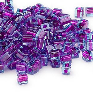 seed bead, miyuki, glass, blue color-lined purple, (sb2651), 3.5-3.7mm square. sold per 250-gram pkg.