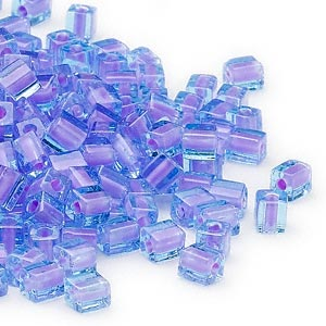 seed bead, miyuki, glass, blue color-lined violet, (sb2640), 3.5-3.7mm square. sold per 250-gram pkg.