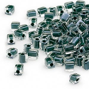 seed bead, miyuki, glass, clear color-lined black, (sb1106), 3.5-3.7mm square. sold per 250-gram pkg.
