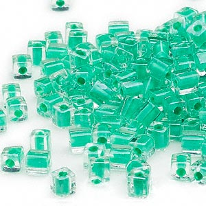 seed bead, miyuki, glass, clear color-lined green, (sb219), 3.5-3.7mm square. sold per 250-gram pkg.