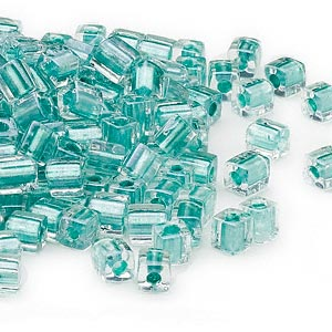 seed bead, miyuki, glass, clear color-lined metallic teal, (sb2605), 3.5-3.7mm square. sold per 25-gram pkg.