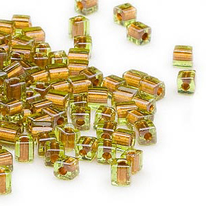 seed bead, miyuki, glass, green color-lined yellow, (sb2631), 3.5-3.7mm square. sold per 25-gram pkg.