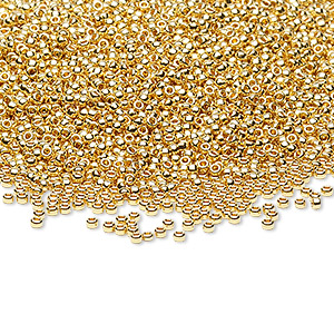 seed bead, miyuki, glass, opaque 24kt gold-finished (rr191), #15 round rocaille. sold per 250-gram pkg.
