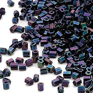 seed bead, miyuki, glass, opaque gunmetal blue, (hex-612), #11 hex 2-cut. sold per 7.5-gram pkg.