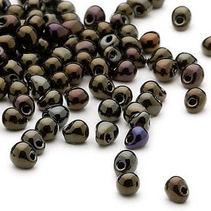 seed bead, miyuki, glass, opaque gunmetal dark gold, (dp458), 4x3.4mm fringe. sold per 10-gram pkg.