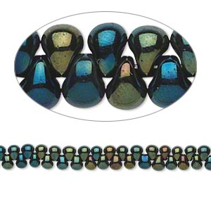 seed bead, miyuki, glass, opaque gunmetal dark green, (dp453), 3.3x2.8mm mini fringe. sold per 250-gram pkg.