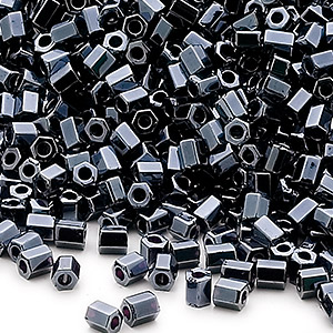 seed bead, miyuki, glass, opaque metallic black, (hex-611), #11 hex 2-cut. sold per 250-gram pkg.