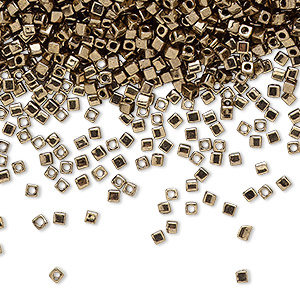 seed bead, miyuki, glass, opaque metallic dark gold, (sb457), 1.8mm square. sold per 500-gram pkg.