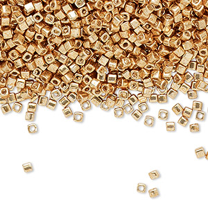 seed bead, miyuki, glass, opaque metallic galvanized gold, (sb1053), 1.8mm square. sold per 25-gram pkg.