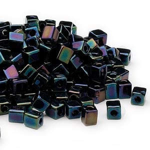 seed bead, miyuki, glass, opaque metallic purple, (sb452), 3.5-3.7mm square. sold per 250-gram pkg.