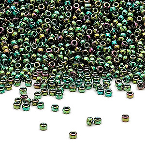 seed bead, miyuki, glass, opaque metallic rainbow green, (rr465), #15 rocaille. sold per 35-gram pkg.