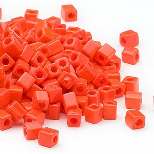 seed bead, miyuki, glass, opaque orange, (sb406), 3.5-3.7mm square. sold per 25-gram pkg.
