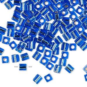 seed bead, miyuki, glass, silver-lined cobalt, (sb19), 3.5-3.7mm square. sold per 250-gram pkg.