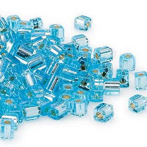 seed bead, miyuki, glass, silver-lined light blue, (sb18), 3.5-3.7mm square. sold per 25-gram pkg.
