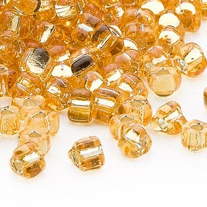 seed bead, miyuki, glass, silver-lined translucent amber yellow, (tr1102), #5 triangle. sold per 250-gram pkg.