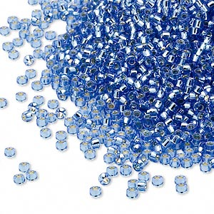 seed bead, miyuki, glass, silver-lined translucent light blue, (rr19), #15 rocaille. sold per 250-gram pkg.