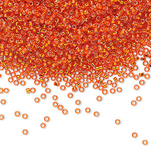 seed bead, miyuki, glass, silver-lined translucent orange, (rr9), #15 rocaille. sold per 250-gram pkg.