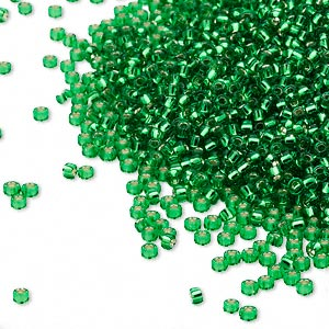 seed bead, miyuki, glass, silver-lined translucent peridot green, (rr16), #15 rocaille. sold per 35-gram pkg.