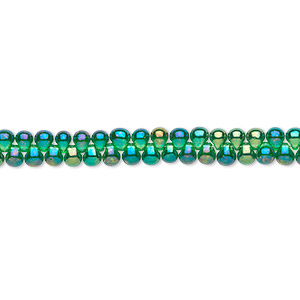 seed bead, miyuki, glass, translucent rainbow green, (dp179), 3.3x2.8mm mini fringe. sold per 10-gram pkg.