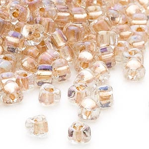 seed bead, miyuki, glass, transparent clear color-lined bronze, (tr1133), #5 triangle. sold per 25-gram pkg.