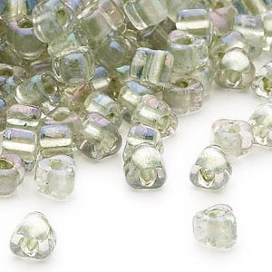 seed bead, miyuki, glass, transparent clear color-lined foam green, (tr1135), #5 triangle. sold per 25-gram pkg.
