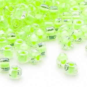 seed bead, miyuki, glass, transparent clear color-lined lime, (tr1119), #5 triangle. sold per 250-gram pkg.