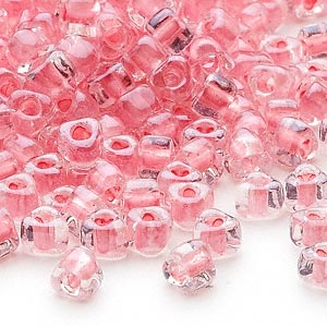 seed bead, miyuki, glass, transparent clear color-lined pink, (tr1109), #5 triangle. sold per 250-gram pkg.