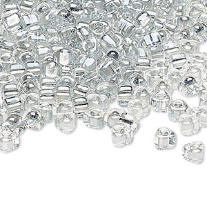 seed bead, miyuki, glass, transparent clear color-lined platinum, (tr1105), #5 triangle. sold per 25-gram pkg.