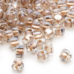 seed bead, miyuki, glass, transparent clear color-lined tan, (tr1124), #5 triangle. sold per 25-gram pkg.