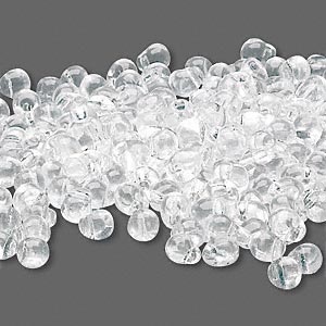 seed bead, miyuki, glass, transparent clear, (dp131), 4x3.4mm fringe. sold per 10-gram pkg.