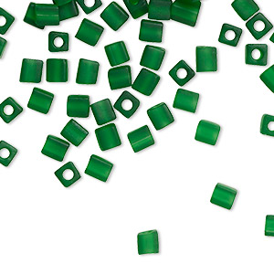 seed bead, miyuki, glass, transparent frosted green, (sb146f), 3.5-3.7mm square. sold per 25-gram pkg.