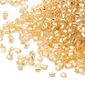 seed bead, miyuki, glass, transparent gold, (hex-662), #11 hex 2-cut. sold per 7.5-gram pkg.