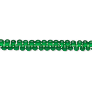 seed bead, miyuki, glass, transparent green, (dp146), 3.3x2.8mm mini fringe. sold per 10-gram pkg.