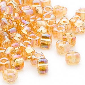 seed bead, miyuki, glass, transparent iris amber yellow, (tr1152), #5 triangle. sold per 250-gram pkg.
