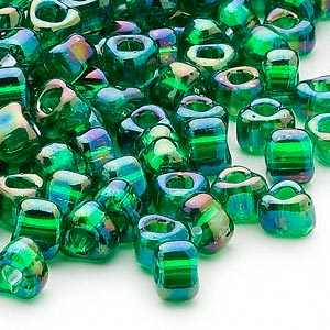 seed bead, miyuki, glass, transparent iris green, (tr1154), #5 triangle. sold per 250-gram pkg.