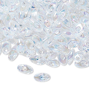 seed bead, miyuki, glass, transparent luster rainbow clear, (lma250), 7x4mm long magatama. sold per 250-gram pkg.