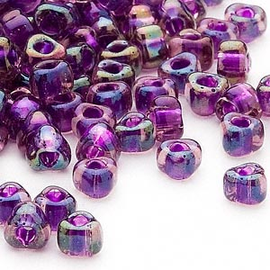 seed bead, miyuki, glass, transparent purple color-lined blue, (tr1832), #5 triangle. sold per 250-gram pkg.