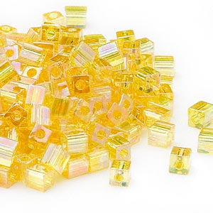 seed bead, miyuki, glass, transparent rainbow yellow, (sb252), 3.5-3.7mm square. sold per 25-gram pkg.