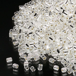 seed bead, miyuki, glass, transparent silver, (hex-660), #11 hex 2-cut. sold per 50-gram pkg.